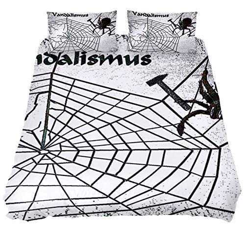 (LORVIES Spider Web Repair Tool Vandalism Duvet Cover Sets Decorative 3 Piece Bedding Sets with Pillow Shams for Men Women Boys Girls Kids Teens)