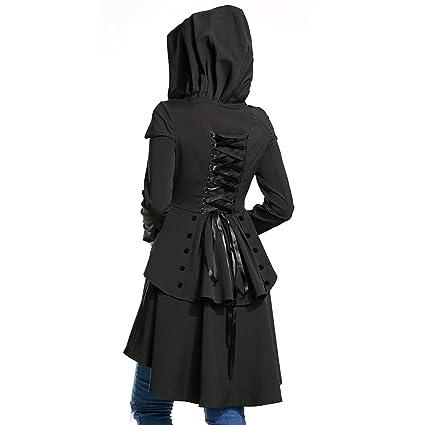 Elegante Abrigo con Capucha para Mujer de Halloween, con Encaje, Dobladillo bajo, Negro