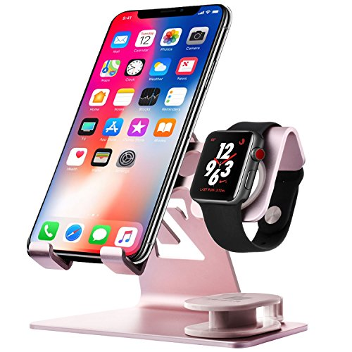 Price comparison product image Apple Watch Stand Zeiger 2 in 1 Aluminium Cell Phone IWatch Charging Stand Tablet Apple Charger Dock Station for Apple Watch Series (38mm 42mm), IPad (up to 12.9 inch), IPhone6 7 8 X Plus (Rose Gold)
