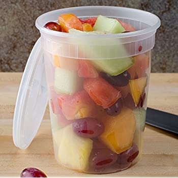 Deli Plastic Containers with Lids, Microwaveable Transparent Food Storage Container - 32 oz., Made in USA. 24 PACK Transparent.