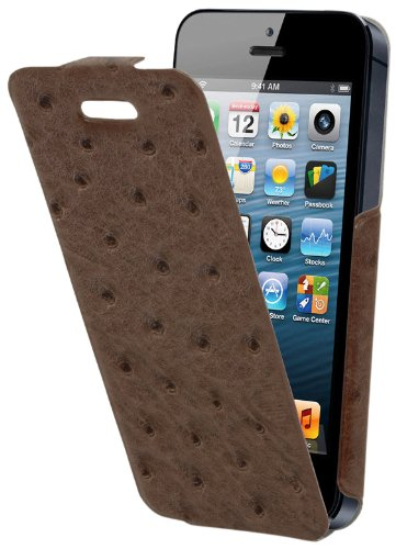 Muvit MUSNF0005 Brown Ostrich Snow Flip Case mit Displayschutz für Apple iPhone 5/5S