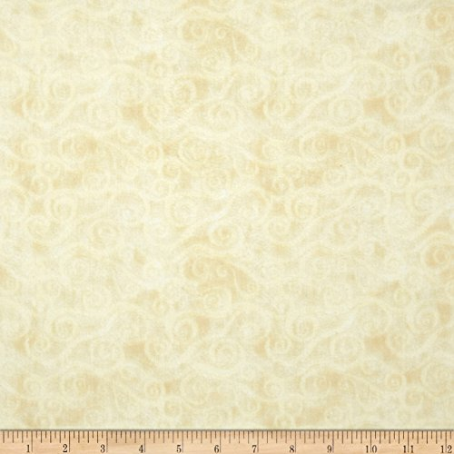 Wilmington Prints 108in Wide Quilt Back Flannel Swirly Scroll Ivory Fabric By The - Wide Backing Quilt