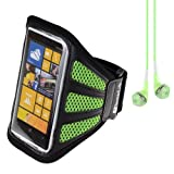 Nokia Lumia Best Deals - SumacLife Running Sports Gym Armband Case Cover for Nokia Lumia Series Smartphones Windows Phone / Samsung Galaxy S4 + VanGoddy Headset With MIC (Green Mesh) by SumacLife