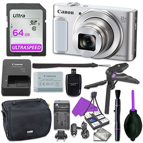 Canon Powershot SX620 Point & Shoot Digital Camera Bundle w/ Tripod Hand Grip , 64GB SD Memory , Case and More (Silver)