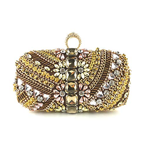 (Marswoodsen Women Evening Clutch Rhinestone Beaded Handbag for Banquet Party)
