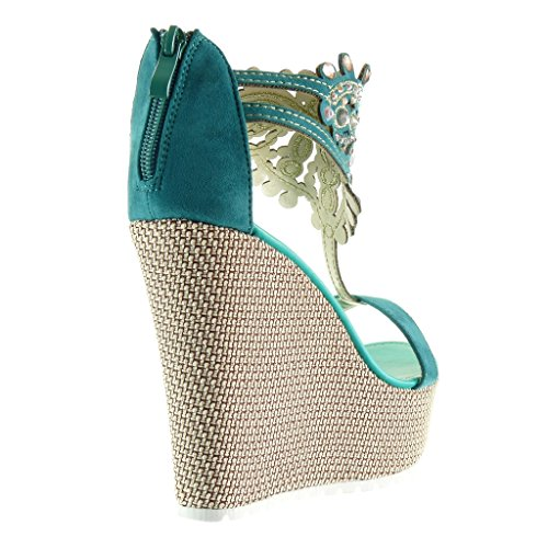 Angkorly Zapatillas Bordado Cm Plataforma Correa Talón 13 Mujer Sandalias Joyas Moda Aguamarina 77gwdqr
