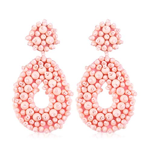 Statement Beaded Hoop Earrings for Women Girls Handmade Bohemian Round Drop Lightweight Fashion Party Studs Ear Jewelry Accessory Gift for Daughter Niece Teenage with Gushion Present Box GUE127 Pink