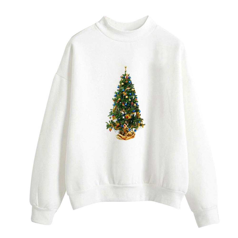 Hoodies for Teen Girls On Clearance,Women's Clothing,Women Christmas Print Ladies Blouse Pullover,White,L