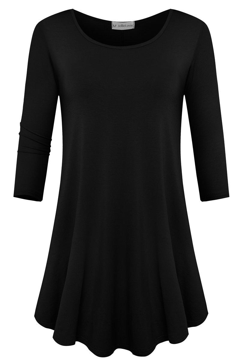 JollieLovin Womens 3/4 Sleeve Loose Fit Swing Tunic Tops Basic T Shirt (Black, L)