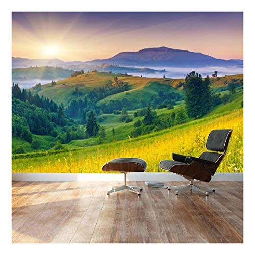 Wall Mural ( Sunset Over Beautiful Hills)