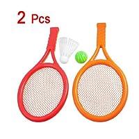 Dcolor 2 x Orange Rouge Jouet de raquette de tennis/badminton en plastique pour le jeu des enfants