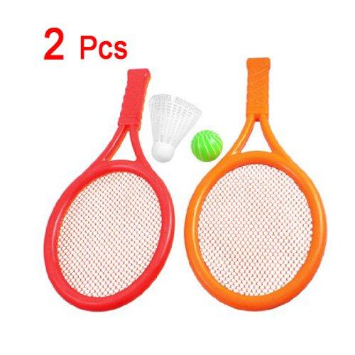 Dcolor 2 x Orange Rouge Jouet de raquette de tennis//badminton en plastique pour le jeu des enfants