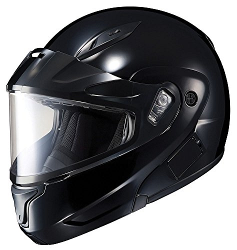 HJC CL-Max 2 Solid Bluetooth Ready Modular Snowmobile Helmet with Dual Lens - Black, Large ()