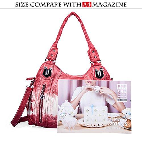 Satchel Multiple Hobo Handbag 2z Women Handbag Red Street Women Bag ladies' Shoulder Bag Tote Roomy PU Ak812 Pockets Fashion for IRIqOwg