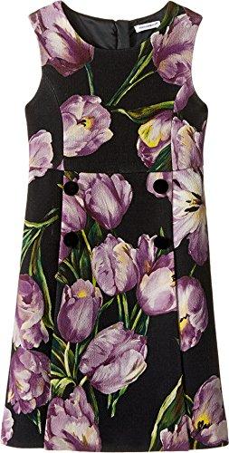 Dolce & Gabbana Kids Girls' City Tulip Print Dress (Little Kids), Black Print, 3T Toddler (Black Gabbana Little Dress & Dolce)