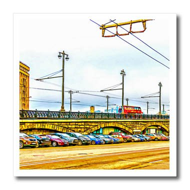 3Drose Alexis Photo Art   Moscow City   Line Of Cars By Moscow Large Stone Bridge  Digital Painting   6X6 Iron On Heat Transfer For White Material  Ht 272242 2