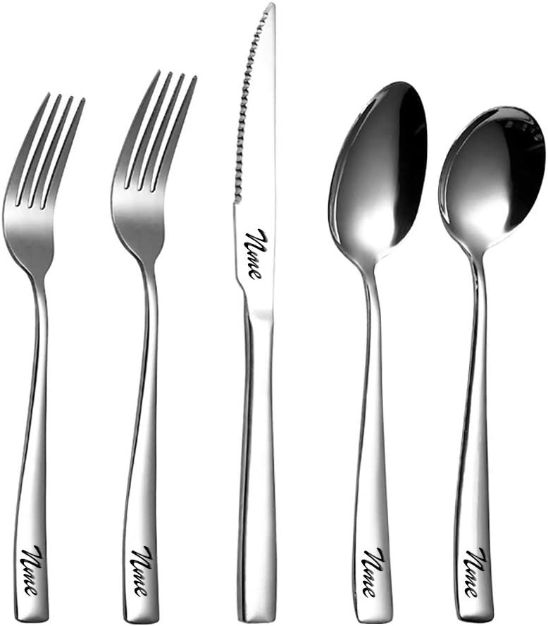 OBTIAN Flatware Set Personalized custom personal tableware Set of cutlery, Include Knife/Fork/Spoon, Mirror Polished, Personalized names will be engraved on your tableware(1 set)