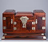 Red rosewood mahogany jewelry box/Sian rosewood mirror box/Fu showed fine carving ornaments/Redwood crafts-B