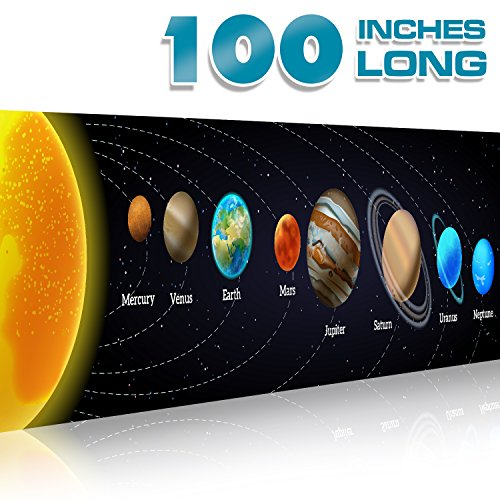 Solar System Poster Science Banner 2 feet x 100 inches (over 8 feet) | Classroom Decorations Vinyl Sign | Educational Reference, Space, Vibrant Colors, No Tearing | For Student, Teacher, Professor