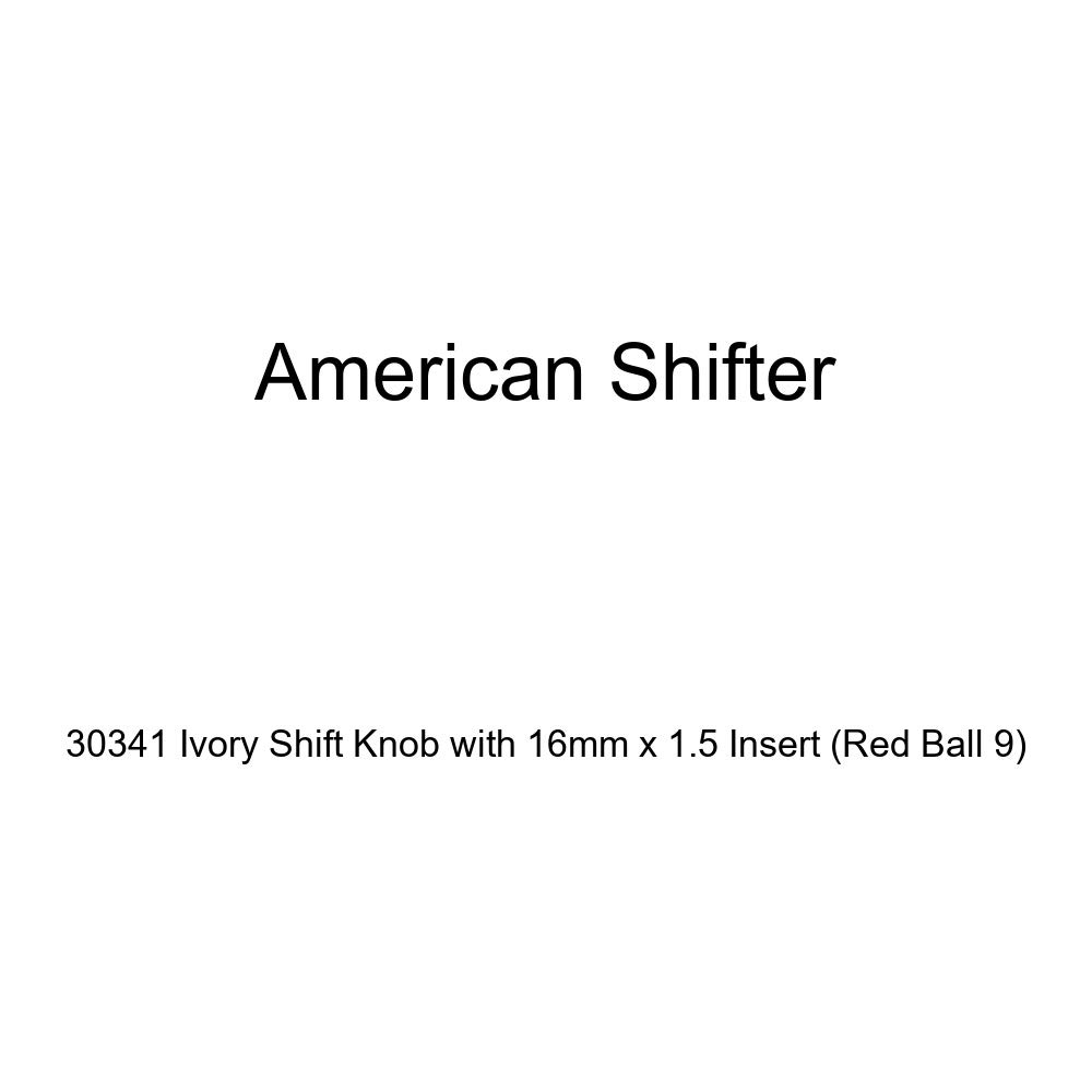 American Shifter 30341 Ivory Shift Knob with 16mm x 1.5 Insert Red Ball 9