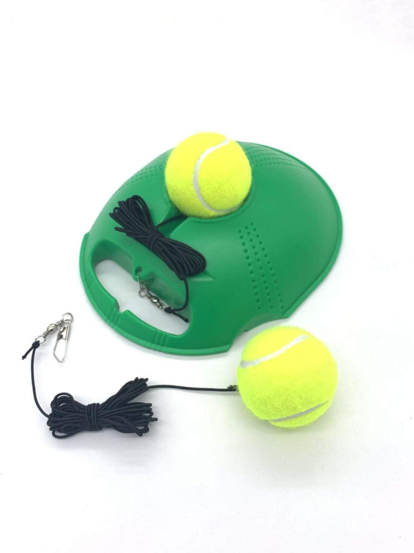 TaktZeit Tennis Trainer Self Training Rebound Baseboard Tennis Training Gear with 2 String Balls (Green-2.0) : Sports & Outdoors