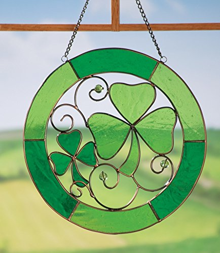 [St. Patrick's Day Irish Shamrock Stained Glass Suncatcher] (St Patricks Day Shamrocks)