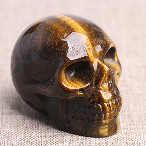 Ruhong 5cm Natural Reki Quartz Healing Crystal Stone Figurine Craft Skull Sculpture Head Statue Brown
