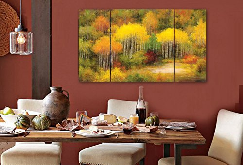 Wieco Art - Colorful Forest 3 Panels Modern Giclee Canvas Prints Artwork Abstract Landscape Oil Paintings Style Picture to Photos Printed on Canvas Wall Art Décor for Living Room Bedroom Home Decorations