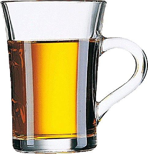 Henkelbecher AMOS für Tee oder Kaffee aus gehärtetem Glas, Inhalt 0,23 ltr., Packung mit 6 Stück Für Heißgetränke aus gehärtetem Glas, stapelbar, Spülmaschinen- und Mikrowellen geeignet.