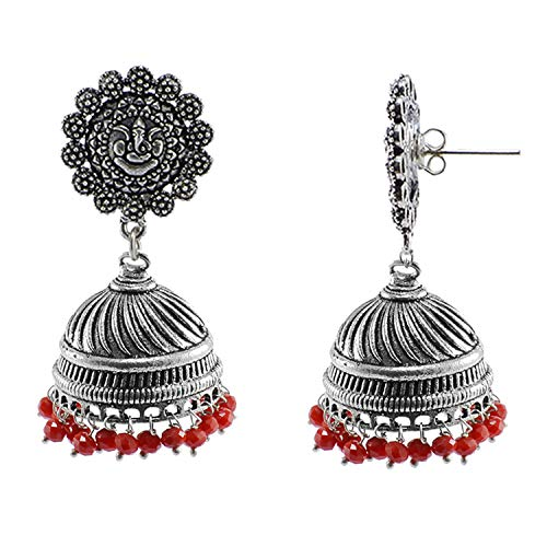Silvesto India Vintage Indian Bollywood Drop Dangle Red Crystals Chandelier Ganesha Jhumka Earrings Jewellery PG-107280