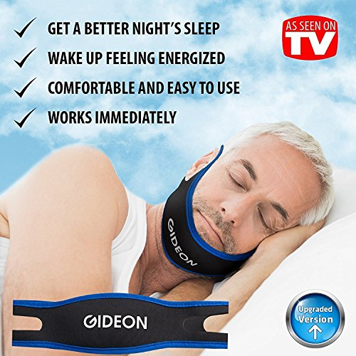 Gideon Ultra Comfortable and Adjustable Anti-Snoring Chin Strap - Instant Stop Snoring - Simple, Fast and Natural Snore Relief [UPGRADED VERSION]