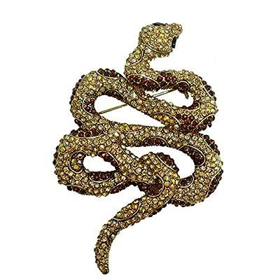 TTjewelry Vintage Retro Snake Animal Pendant Brooch Pin Brown Austria Crystal supplier