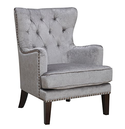 (Traditional Contemporary Tufted Nailhead Trim Classic Wingback Accent Chair with Arms, Gray)