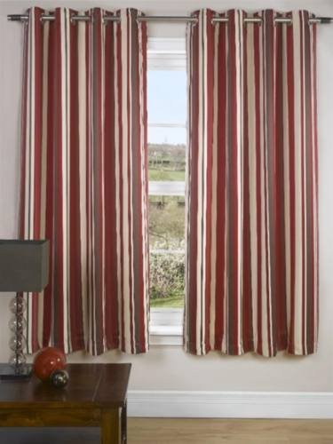 Red Stripe Eyelet Curtains Www Myfamilyliving Com