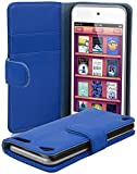Cadorabo Case works with Apple iPod TOUCH 5 in NAVY BLUE (Design BOOK STRUCTURE) – with 2 Card Slots – Wallet Case Etui Cover Pouch PU Leather Flip