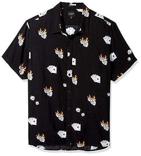 GUESS Men's Short Sleeve Rayon Dice Print Shirt, Dice Print Jet Black, (Dice Print)