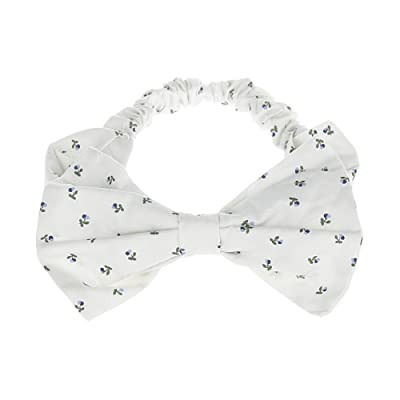 Cherry Print Bows Headband for Baby Girls Cotton Hair Bands (White)