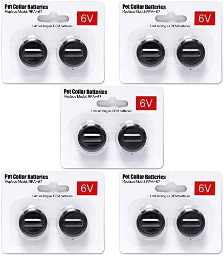 Ruzixt 6V Pet Collar Batteries Compatible with PetSafe RFA-67 6 Volt Replacement Battery 10 Pack