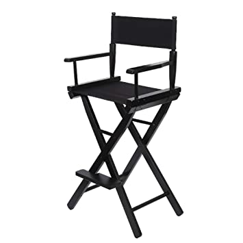 Amazon.com: Folding Chair Portable Wooden High Chair Black Outdoor ...