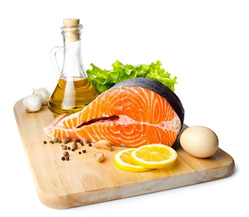 Fresh Salmon Steak on Wooden Cooking Desk Wiht Wall Decal - 24 Inches W x 21 Inches H - Peel and Stick Removable Graphic