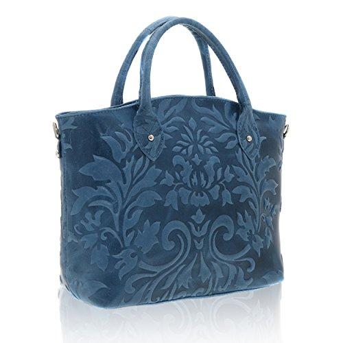 35 Sac Cm en Made Borse véritable Jeans Italy x femme 11 Blue main à x 28 cuir in Chicca 5aXPqP