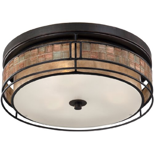 - Quoizel MCLG1616RC Laguna Mica Flush Mount Ceiling Lighting, 3-Light, 180 Watts, Renaissance Copper (6