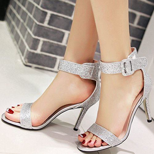 YE Women's Glitter Kitten Heel Sandal Open Toe Wedding Court Shoes with Buckle Ankle Strap Evening Party Shoes White ZBmlM9e