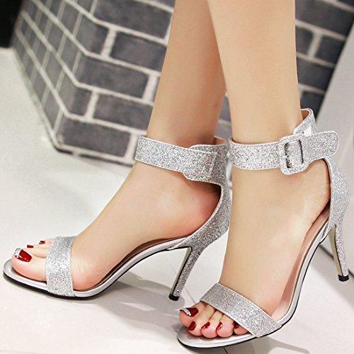YE Women's Glitter Kitten Heel Sandal Open Toe Wedding Court Shoes with Buckle Ankle Strap Evening Party Shoes White nj7j6bz