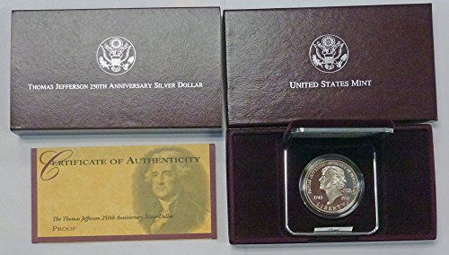 1993 S Thomas Jefferson 250th Anniversary Silver Proof $1 OGP US ()