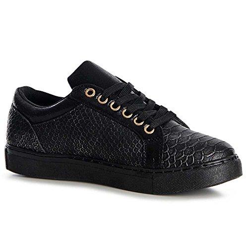 Topschuhe24 Sneaker Sport Chaussures Femmes Noir De qPqwvH1TF
