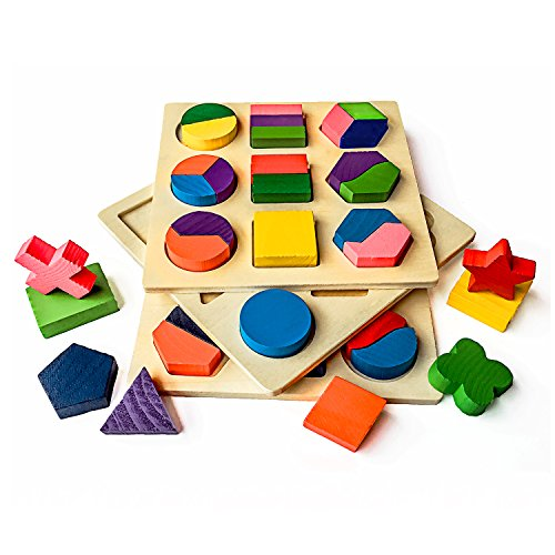 Geometric Shapes Puzzle - Mideand Wooden Preschool Shape Jigsaw Puzzle for Toddlers Chunky Geometric Puzzle Educational Blocks Sorting Game Early Development Toys Learning Math Shapes & Color Recognition Toy, 1 Set of 3