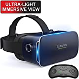 Pansonite 3D VR Glasses Virtual Reality Headset for Games & 3D Movies, Lightweight with Adjustable Pupil and Object Distance for IOS and Android Smartphone (dark blue)
