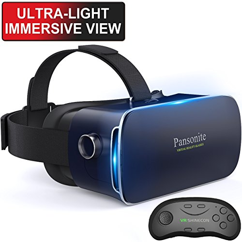 Pansonite 3D VR Glasses Virtual Reality Headset with Remote Controller and Adjustable Lenses & Head Strap for VR Games & 3D Movies, Lightweight and Compatible with iOS & Android Smartphone