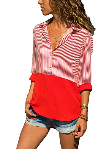 Tops for Women V Neck Striped Patchwork Shirts Long Sleeve Blouses Button Down Turndown Collar Red Pinstripe Shirts S